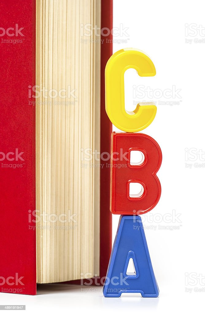 three letters A, B and C in front of a book royalty-free stock photo