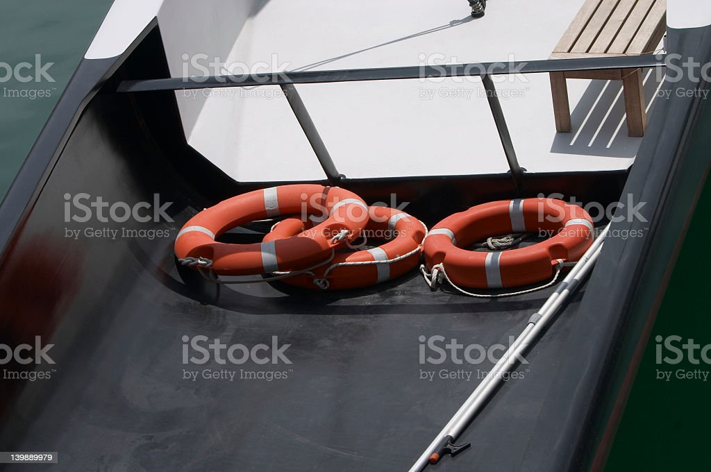 three life-guards in a boat royalty-free stock photo