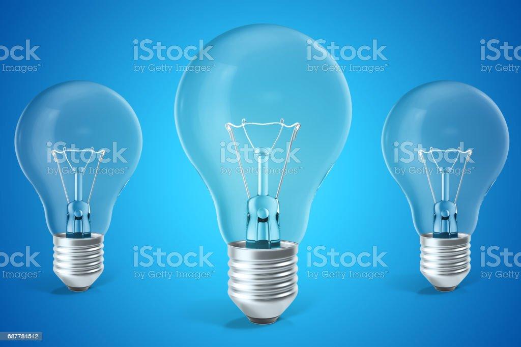 Three ligh bulb concept of ideas, innovation. 3d rendering stock photo