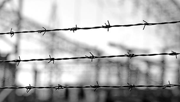 Drei Linien Stacheldraht, demarcate der Grenze – Foto