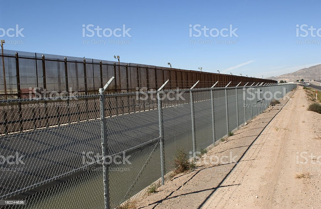 Three lines of deterrent_Border fence stock photo