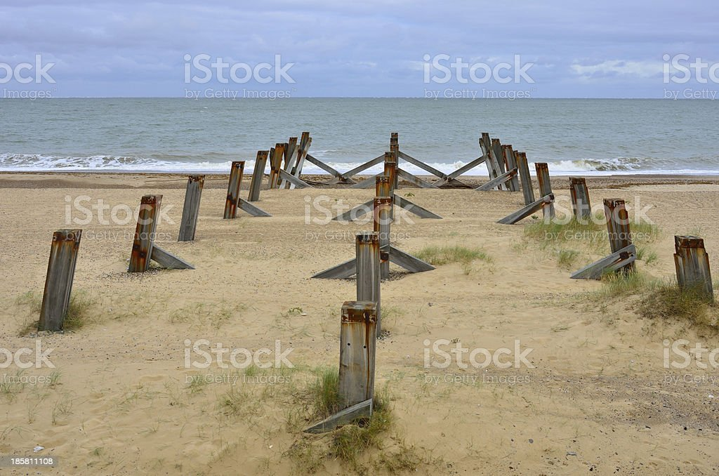 three lines of wooden posts royalty-free stock photo
