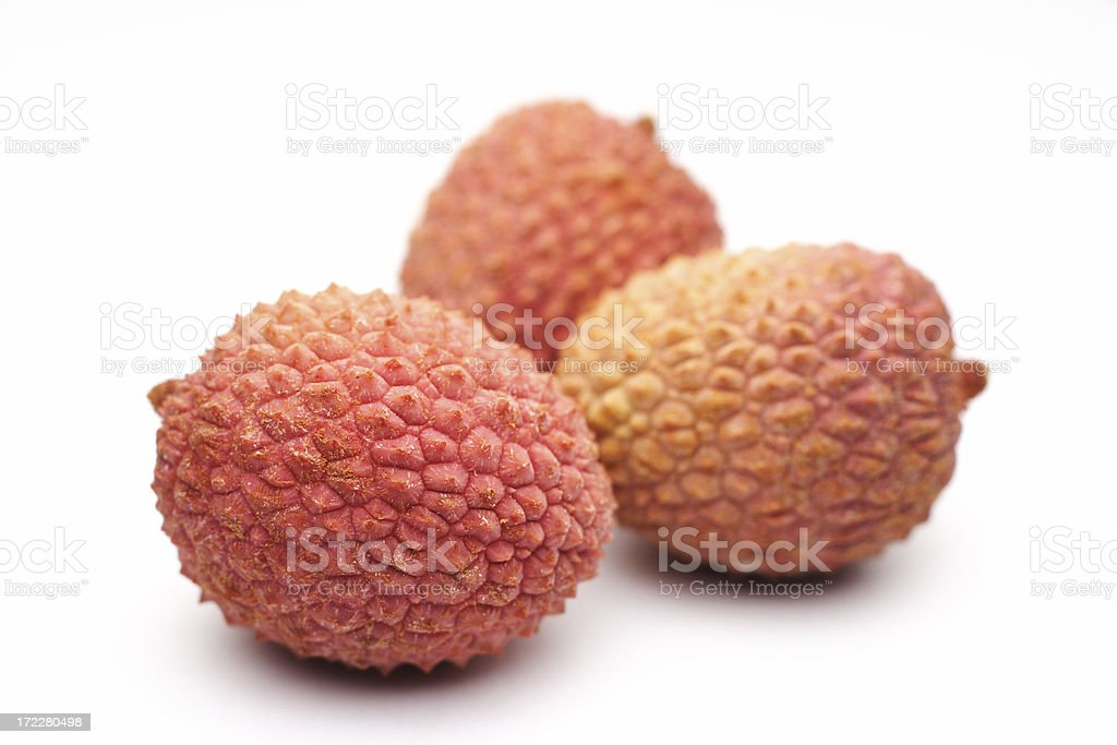 Three Litchi on white stock photo
