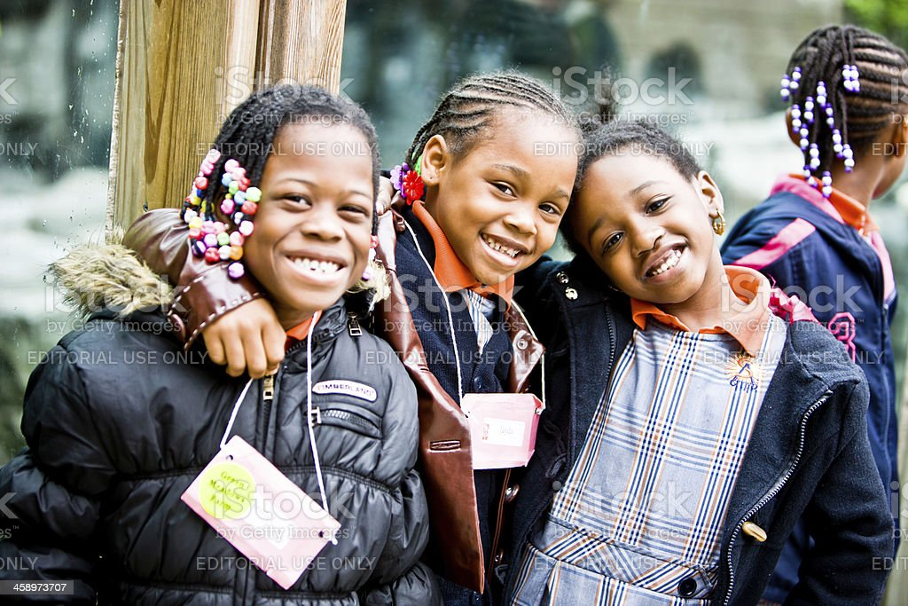 Three little girls in Central Park, New York stock photo