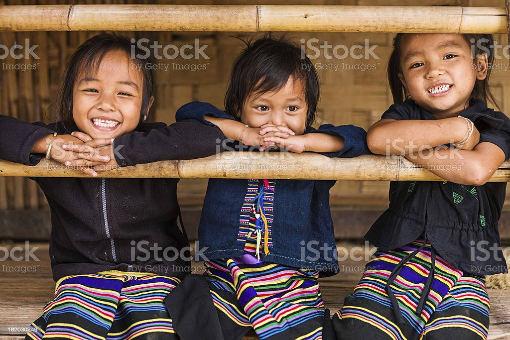 Three little girls in Northern Laos stock photo