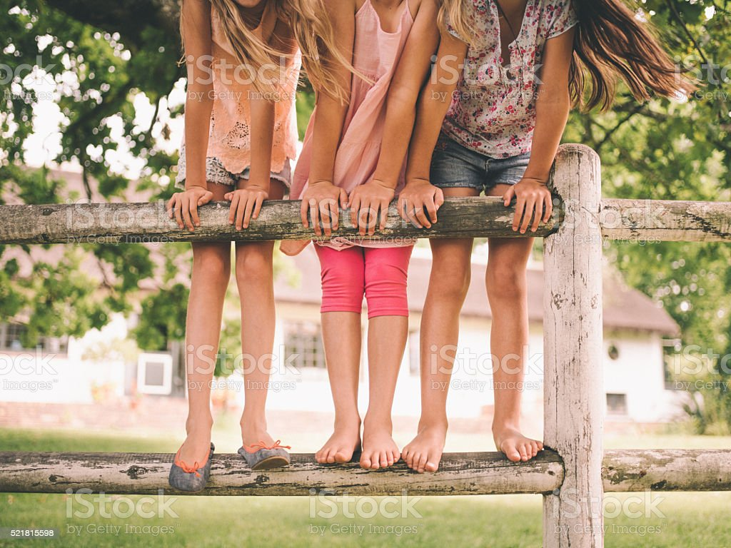 Three little girls standing on wooden fence in a park stock photo
