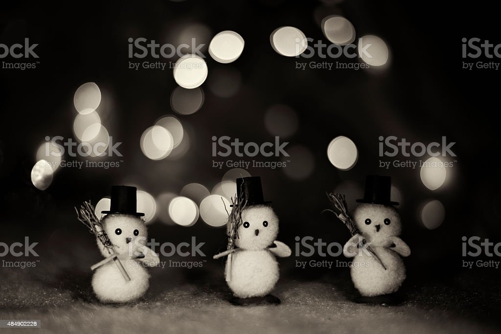 Three Little Snowmen stock photo