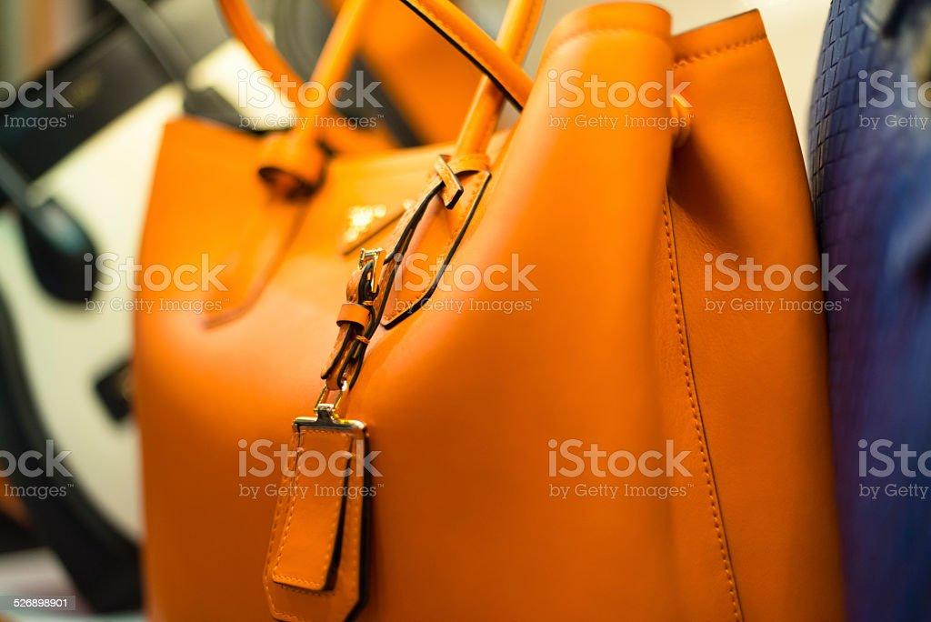 Three Luxury Leather Handbags, Istanbul, Turkey stock photo