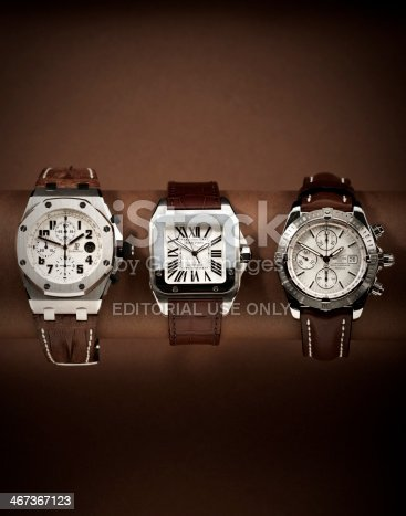 Amsterdam, Netherlands - March 3, 2009: Three luxury watches in a row