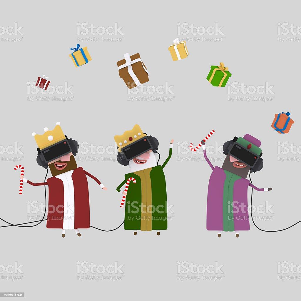 Three magic kings playing with virtual realily glasses stock photo
