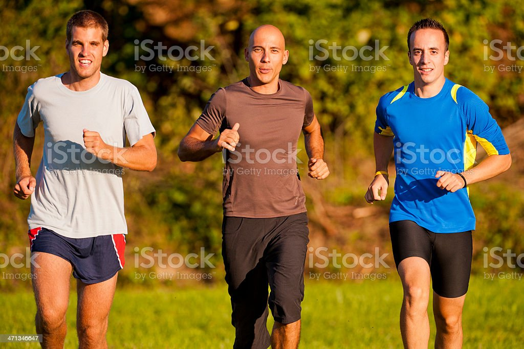 Three male athletes jogging in the park stock photo