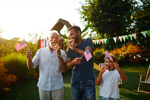Three Male Generations Celebrating 4th Of July Stock Photo - Download Image Now