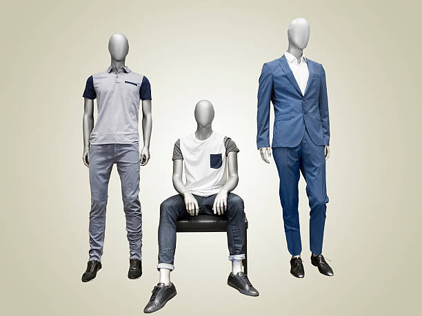 three male mannequins. - représentation masculine photos et images de collection