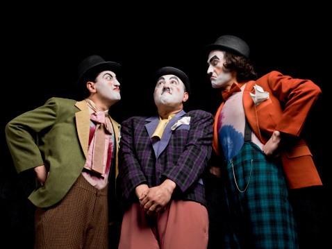 istock Three male mimes on the stage 161936213