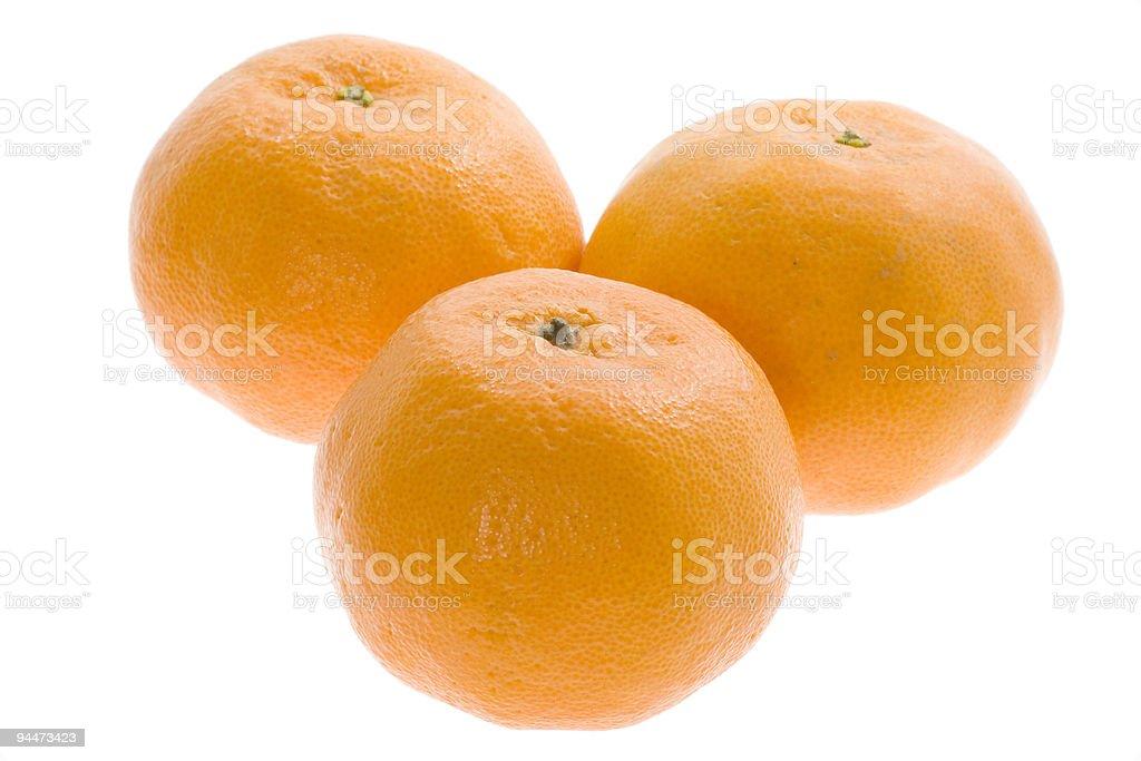 Three mandarin oranges royalty-free stock photo