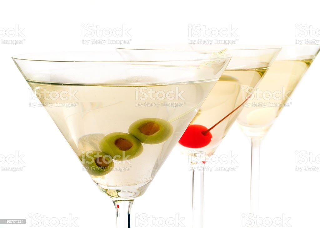 Trois cocktails Martinis sur fond blanc - Photo
