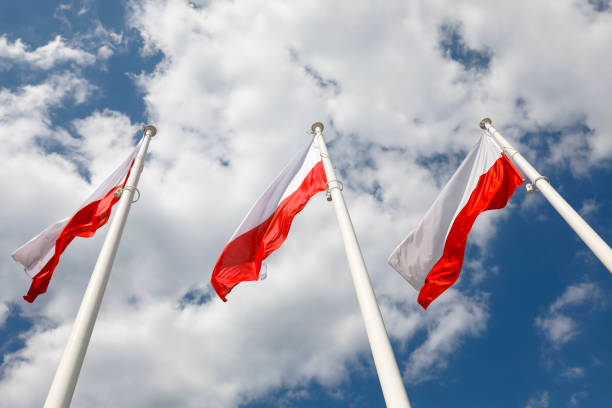 Three masts and three flags of Poland
