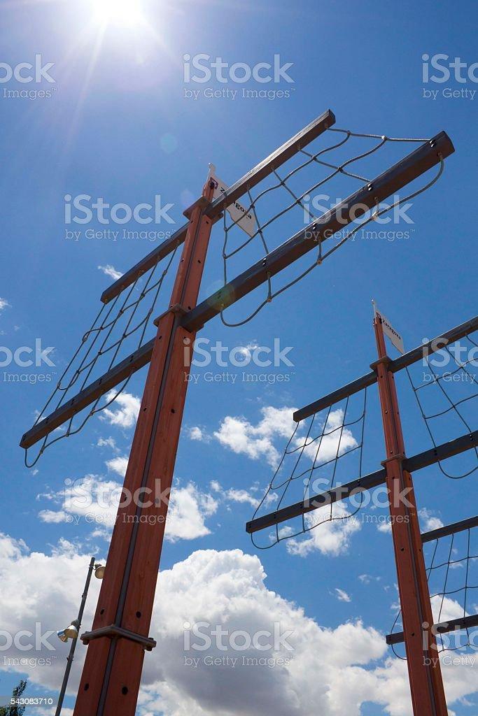 three masts of a boat on a sunny sky stock photo