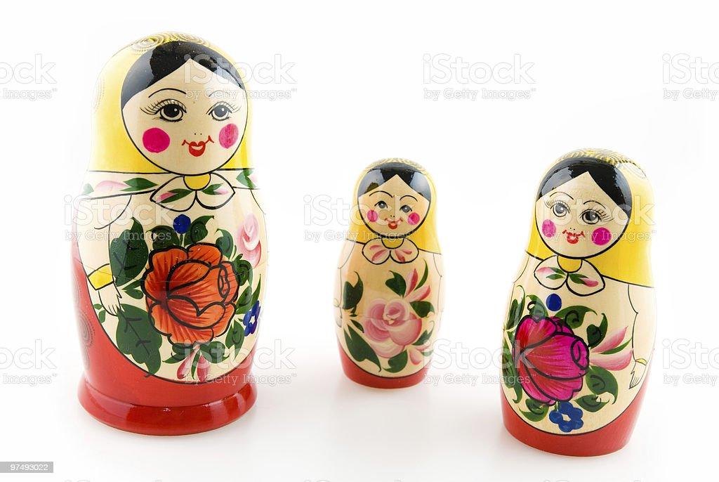 three matryoshka dolls royalty-free stock photo