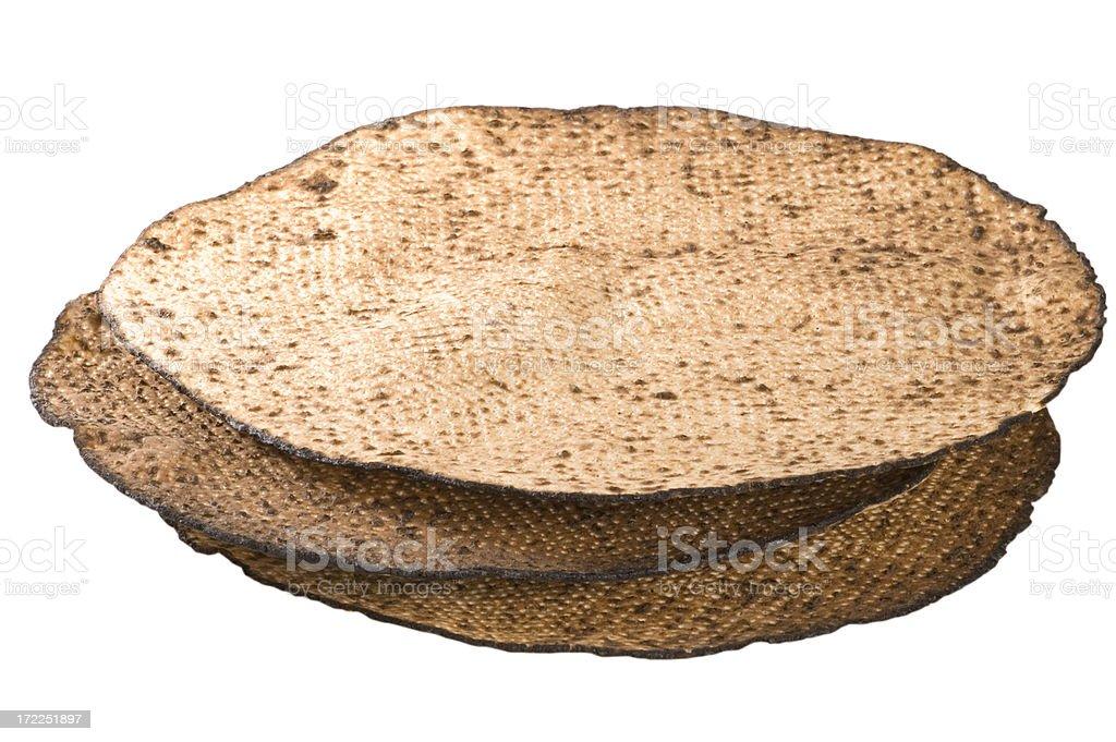 Three matzas for the seder stock photo