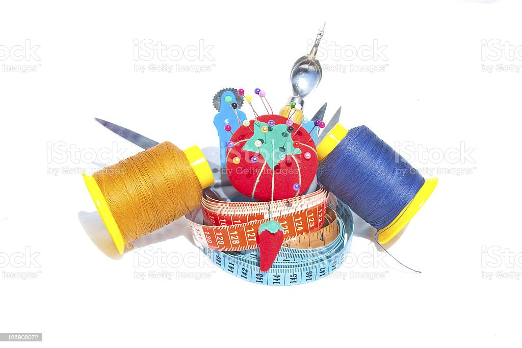 Three Measuring Tapes With Sewing Accessories royalty-free stock photo