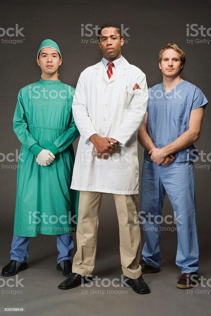 Three medical professionals, portrait stock photo
