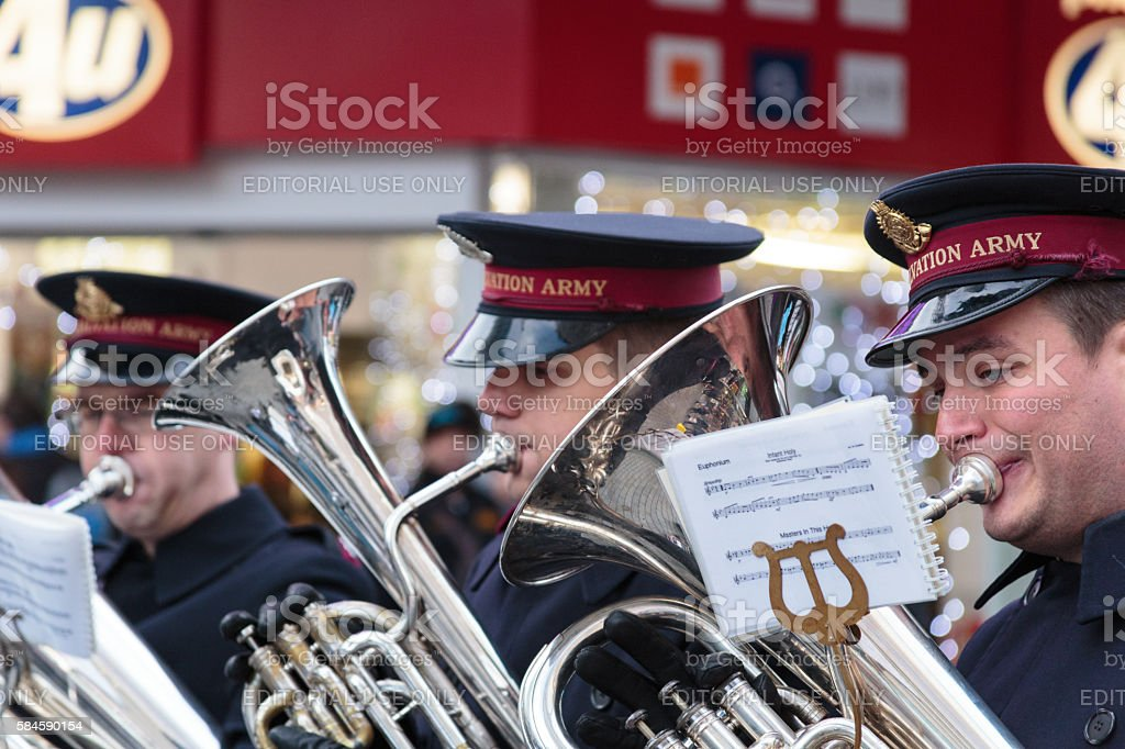 Three members of the Salvation Army brass band