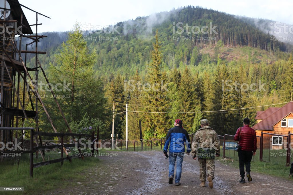 Three men hike in forest with backpack for trekking royalty-free stock photo