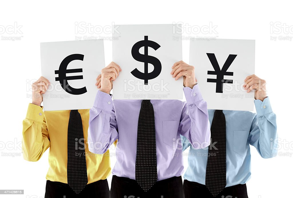 Three men holding currency signs royalty-free stock photo