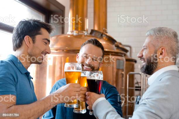 Three Men Toasting Beers After Work At Micro Brewery Stock Photo - Download Image Now