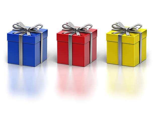 Three Metal Gift Box Isolated on White Background stock photo