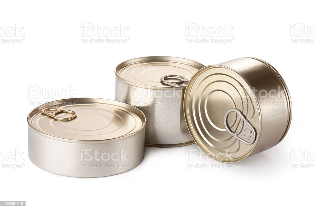 Three metallic goods can with key royalty-free stock photo