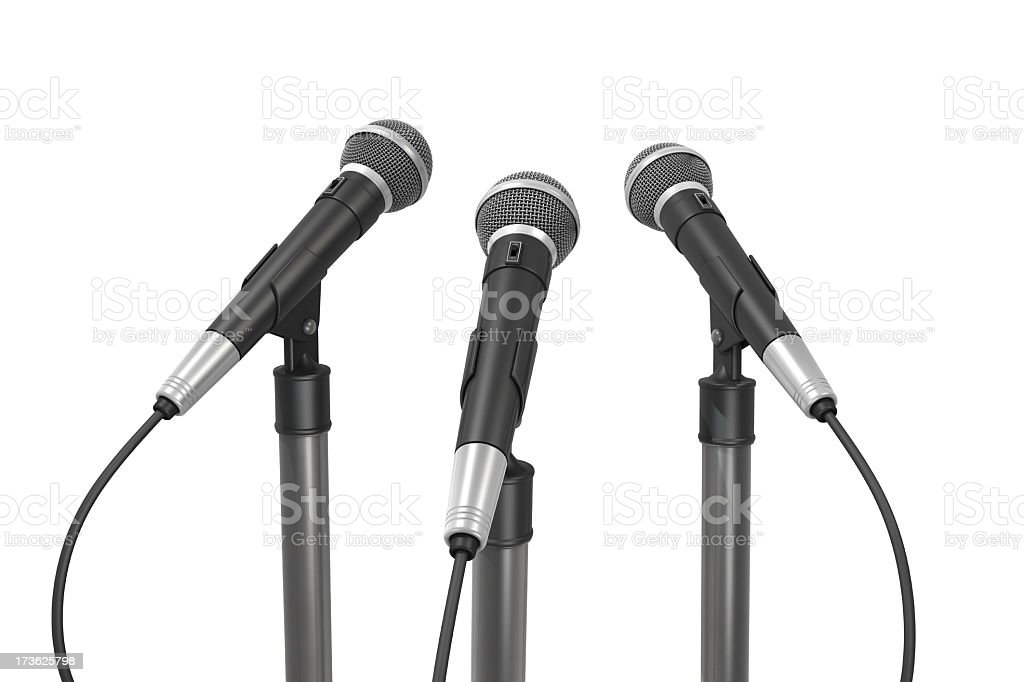 Three Microphones Back View royalty-free stock photo