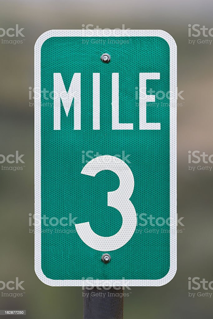 Three Mile Marker stock photo