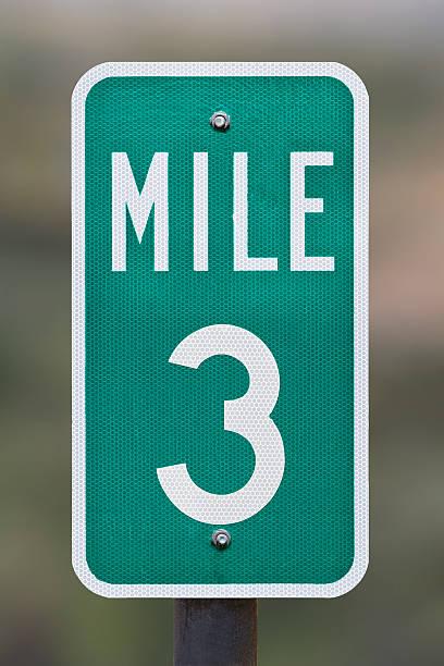Three Mile Marker stock photo