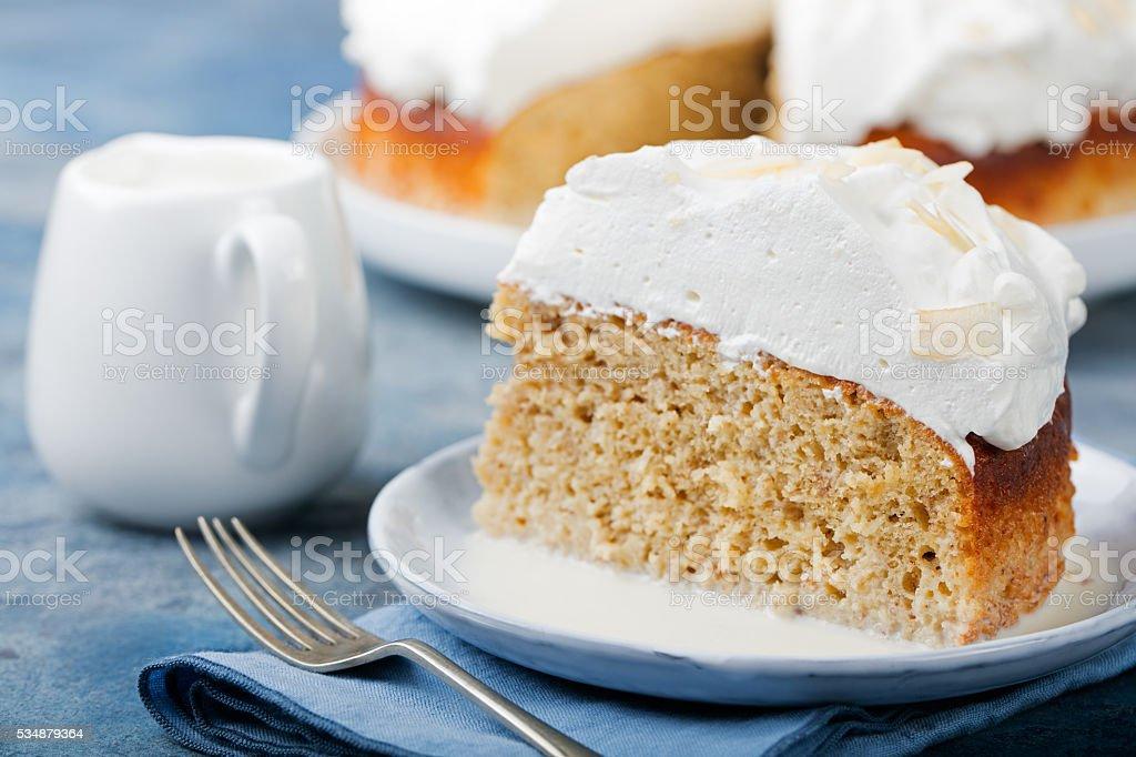 Three milk cake with coconut. Traditional dessert of Latin America. stock photo