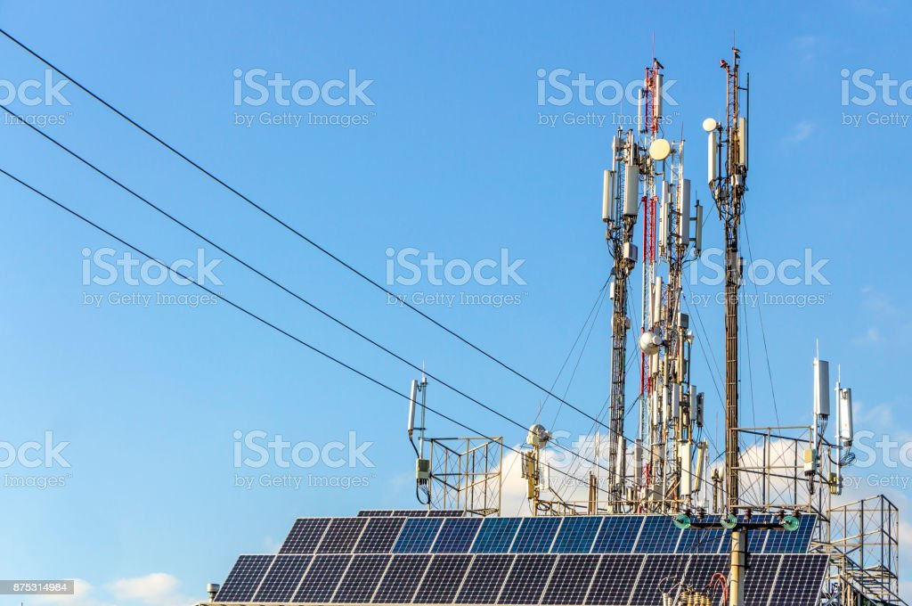 Three mobile phone communication tower transmission signal stock photo