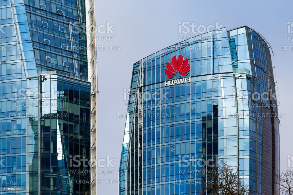 Three modern office buildings with corporative logos in Vilnius foto stock royalty-free