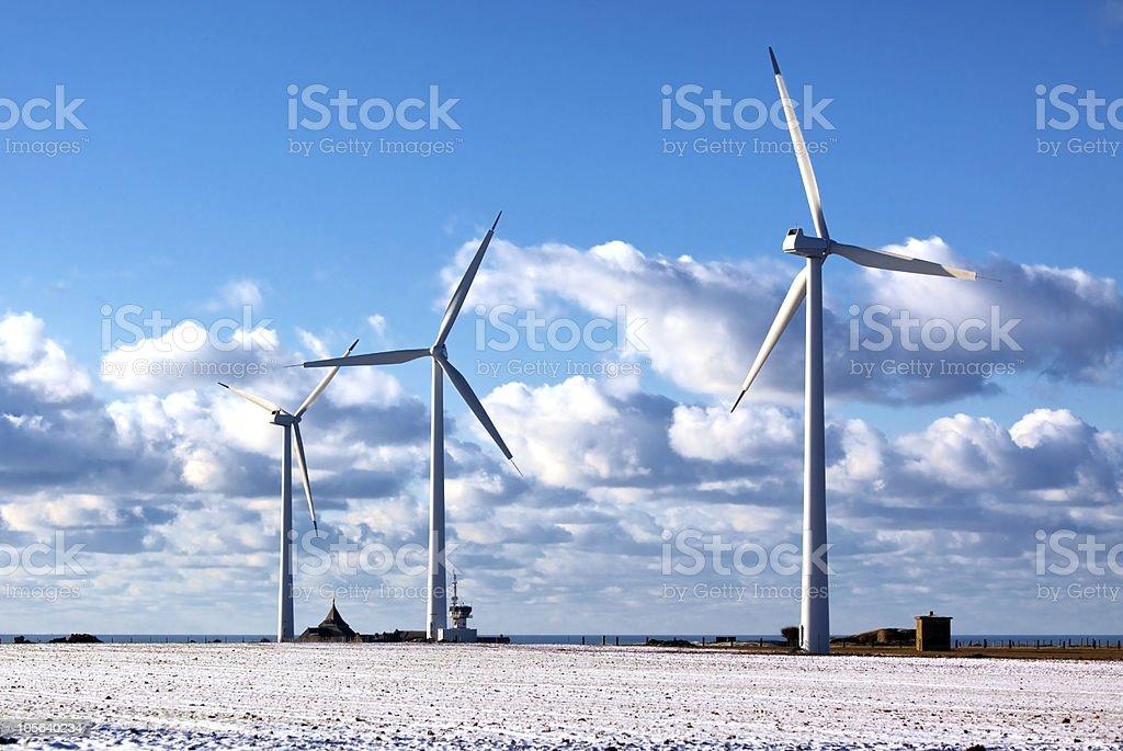 three modern windmills royalty-free stock photo