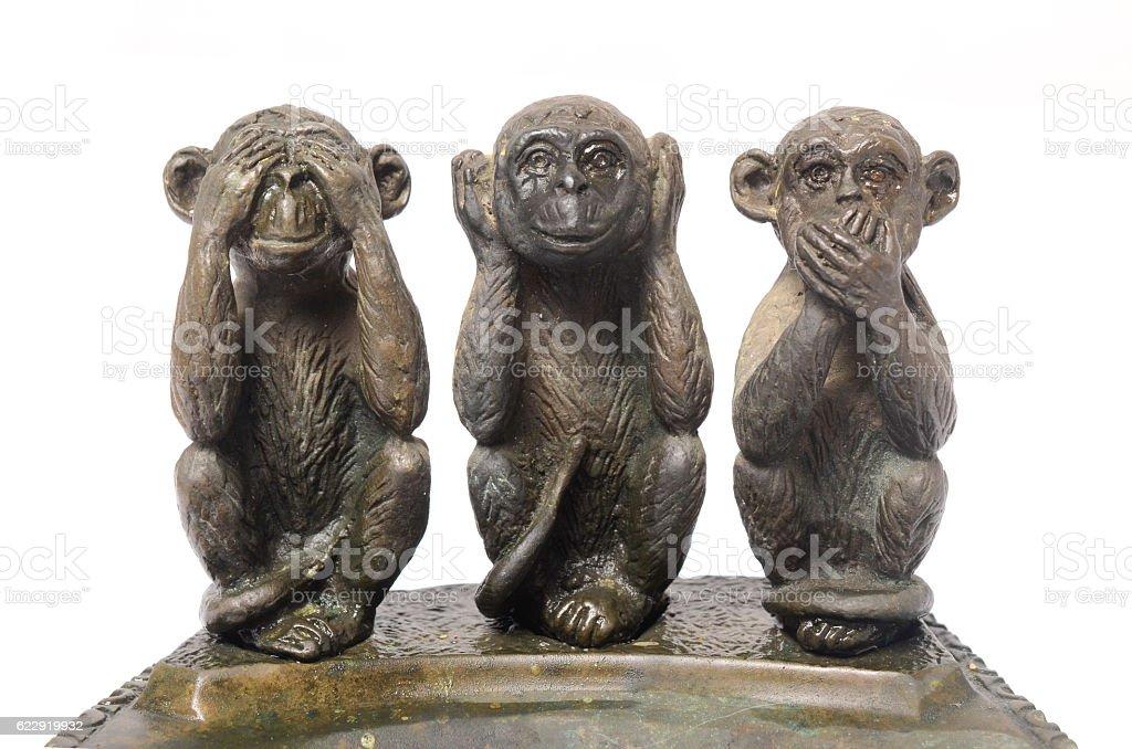 Three Monkeys Sculpture Hear Speak see stock photo