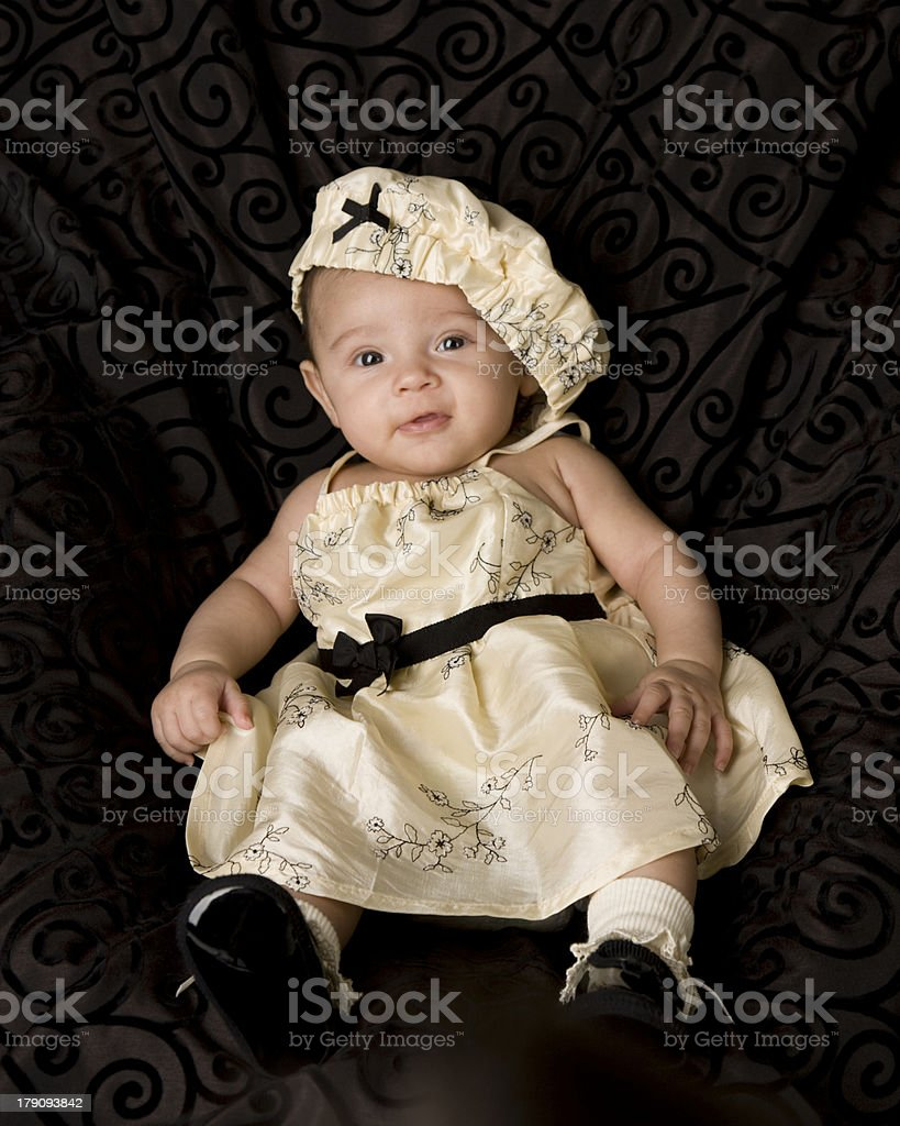 Three Month Old Baby in a Cute Outfit royalty-free stock photo