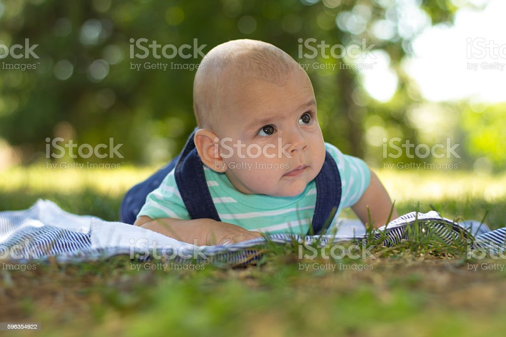 Three months old baby lying on grass in park. royalty-free stock photo