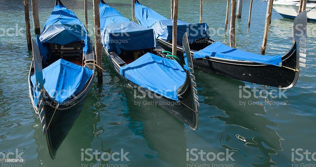 three moored gondolas royalty-free stock photo