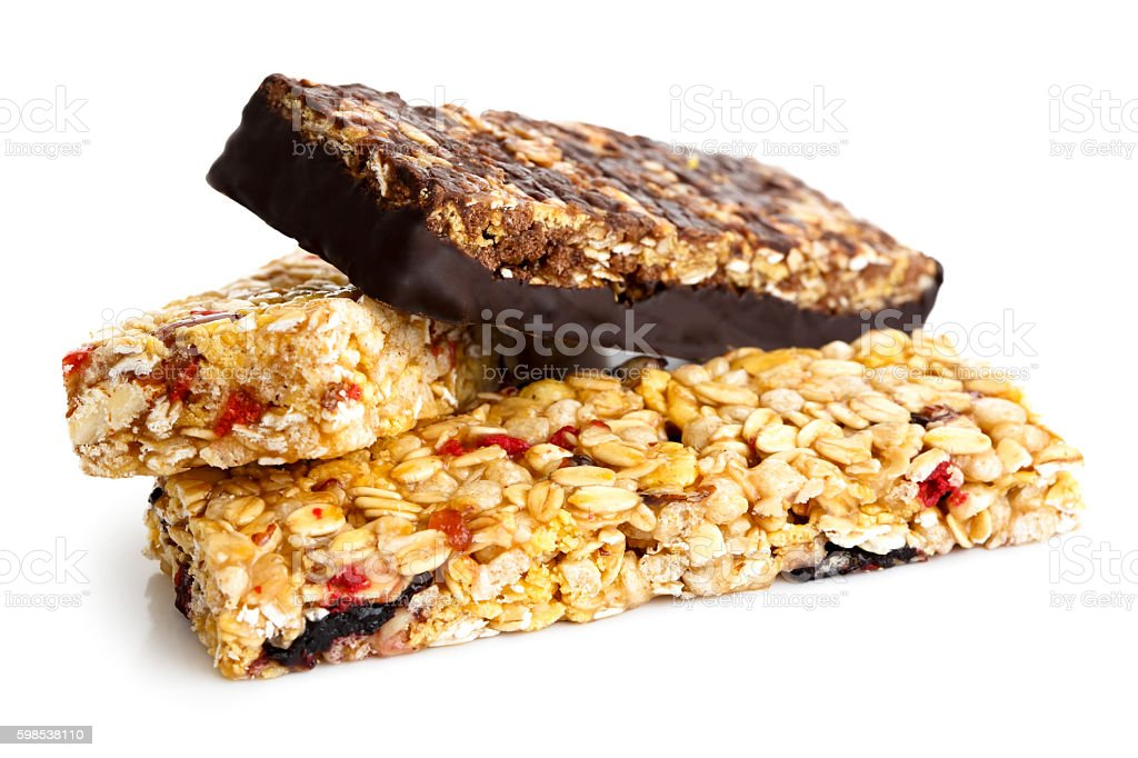 Three muesli bars isolated on white. photo libre de droits