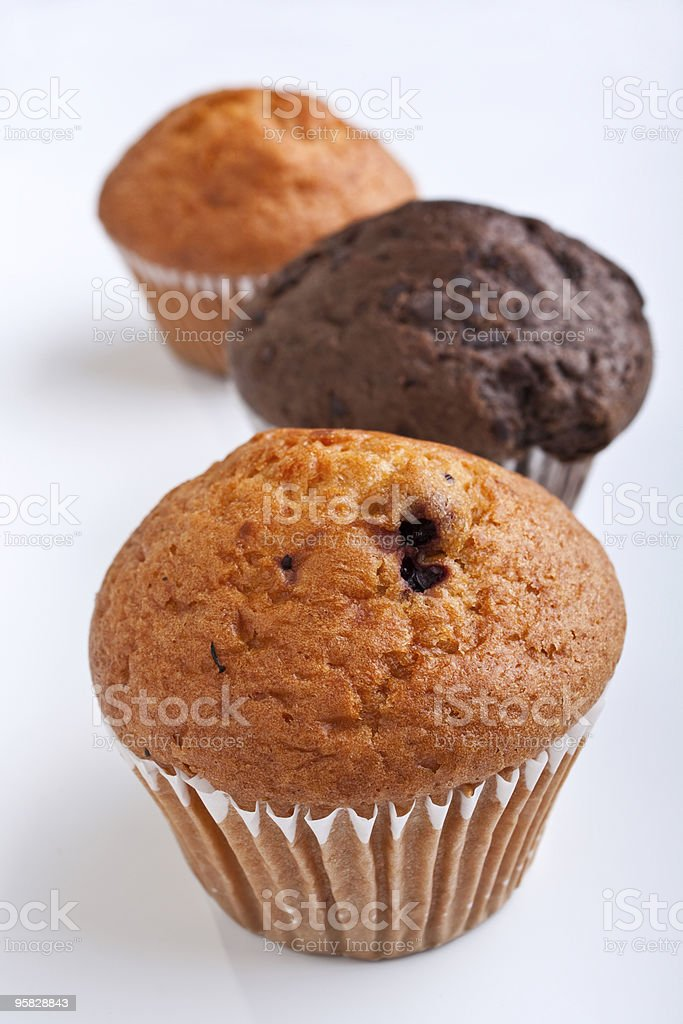 three muffins in a row royalty-free stock photo