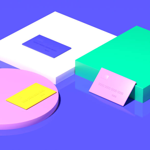 Three multi-colored credit cards lie on a geometric background. Pink, yellow, blue, and green. 3D render.