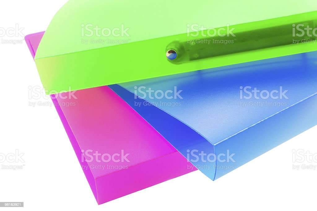 three multicolored folders royalty-free stock photo