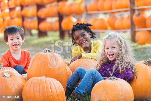 A group of three multi-ethnic children, 4-5 years old, sitting on the ground with lots of pumpkins at a market stand, smiling at the camera.