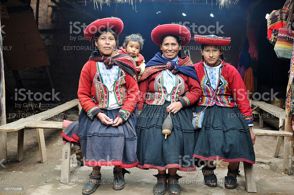 Three native women from Chinchero, Peru stock photo