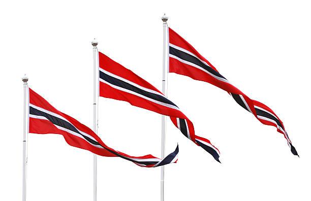 drei norwegische wimpel flags, isoliert auf weiss - norwegen fahne stock-fotos und bilder